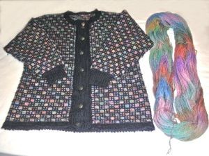 Slip Stitch cardigan knitted in hand dyed yarn by Shirley Shaw